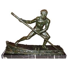 Art Deco Sculpture of a Man Rowing a Boat by Ouline