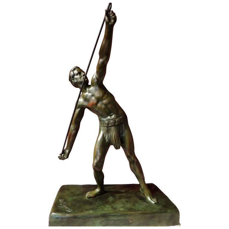 "Bronze Art Deco Sculpture Statue ""The Javelin Thrower"" By Demetre"