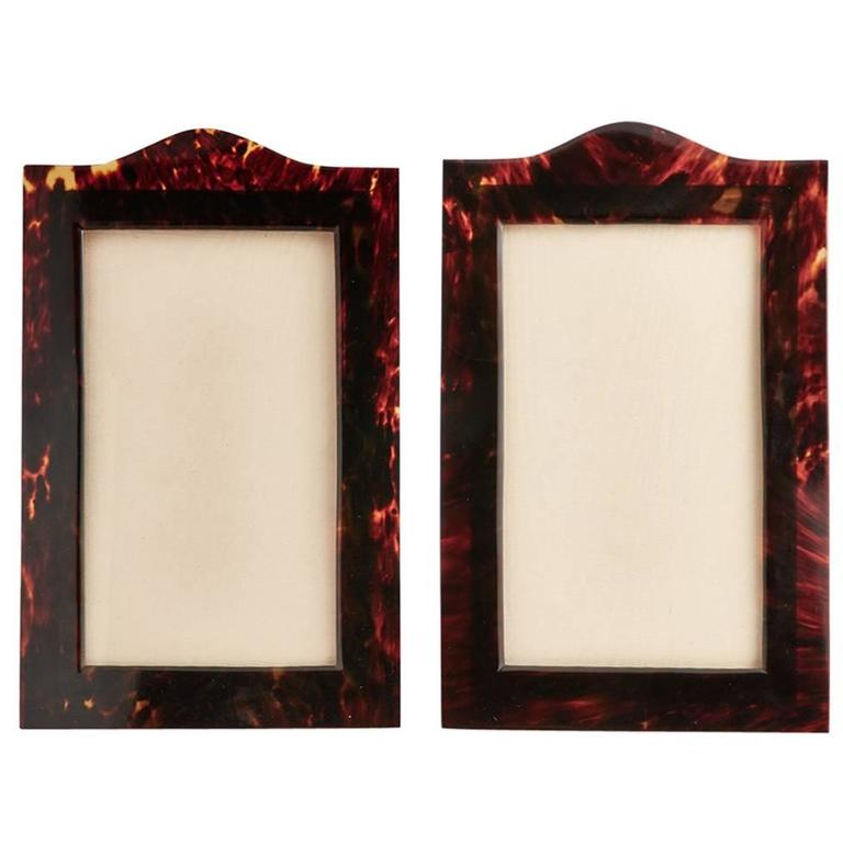 Beautiful Pair of Arch Top Elongated Tortoiseshell Photograph Frames, circa 1910