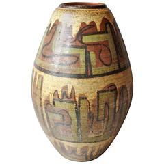 Early Antique Handmade Hand Glazed Mountains Vase Southwest, 1925