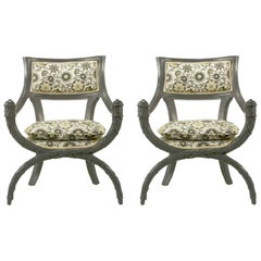 Pair of Carved Wood Curule Chairs in Slate Grey Lacquer