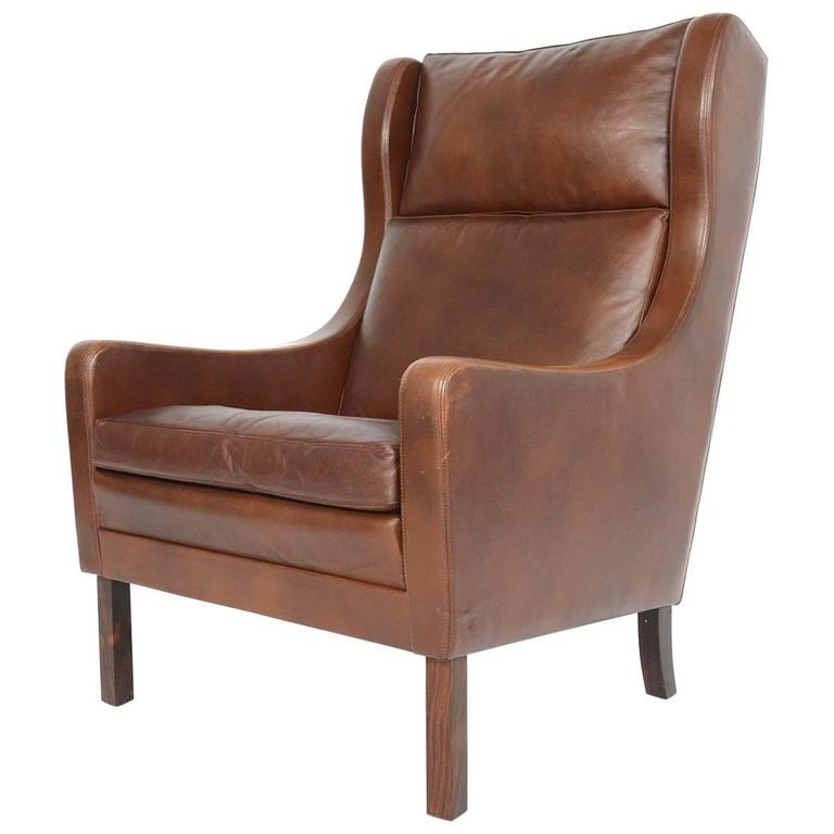 Møgensen Style High Back Leather Lounge Chair For