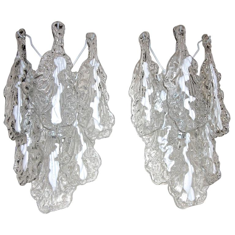 Pair of Mazzega Murano Clear White Textured Glass Sconces For Sale