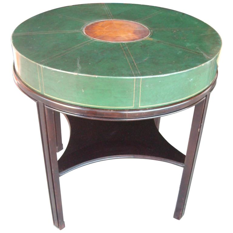 Tommi Parzinger for Charak, Side Occasional Round Leather Table, Leather 1
