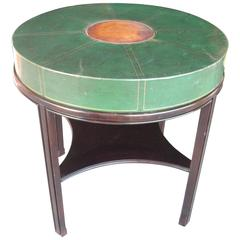 Tommi Parzinger for Charak, Side Occasional Round Leather Table, Leather