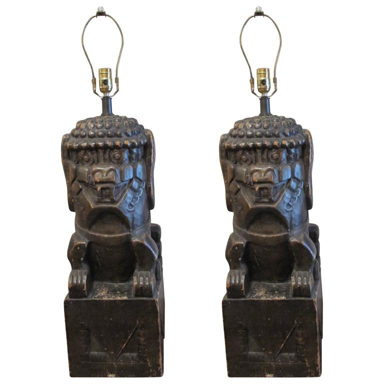 One Pair of Monumental Carved Wood Foo Dogs Mounted as Lamps 1