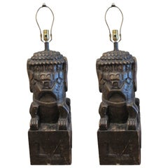 One Pair of Monumental Carved Wood Foo Dogs Mounted as Lamps