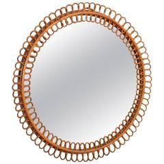 Rattan Wall Mirror, Italy, 1970s