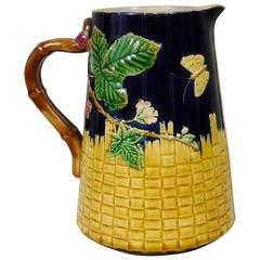 19th Victorian Majolica Butterfly and Blackberries Pitcher Brownfield