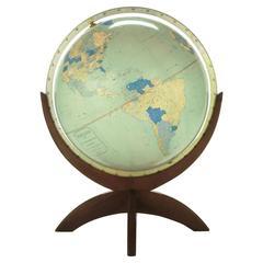"""43"""" Tall Illuminated 1950s Globe With Mahogany Base"""