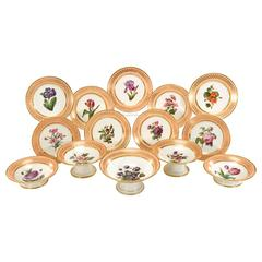 15-Piece Old Paris Dagoty Hand-Painted Botanical Peach and Gold Dessert Set