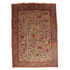 Figural Tabriz Isfahan Persian Rug with Hunting Scene