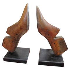 One Pair of Charming Wooden Shoe Moulds Mounted as Bookends Great Character.