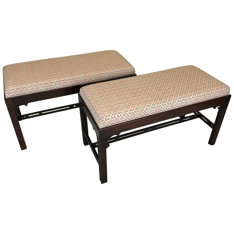 Pair Of Vintage Chippendale Benches By Baker Furniture For Sale At 1stdibs