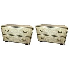 Pair of 20th Century John Widdicomb Burl and Brass Chests
