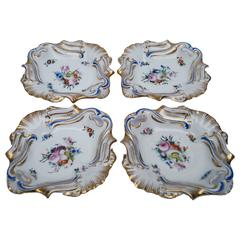 Four Antique Old Paris Hand-Painted Serving Dishes, France, 1850-1880
