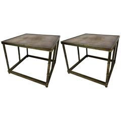 Pair of Mastercraft Mid-Century Burl and Brass Side Tables