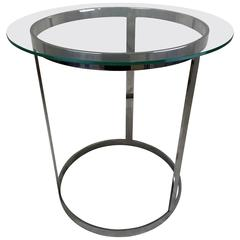 20th Century Milo Baughman Chrome and Glass Occasional Table