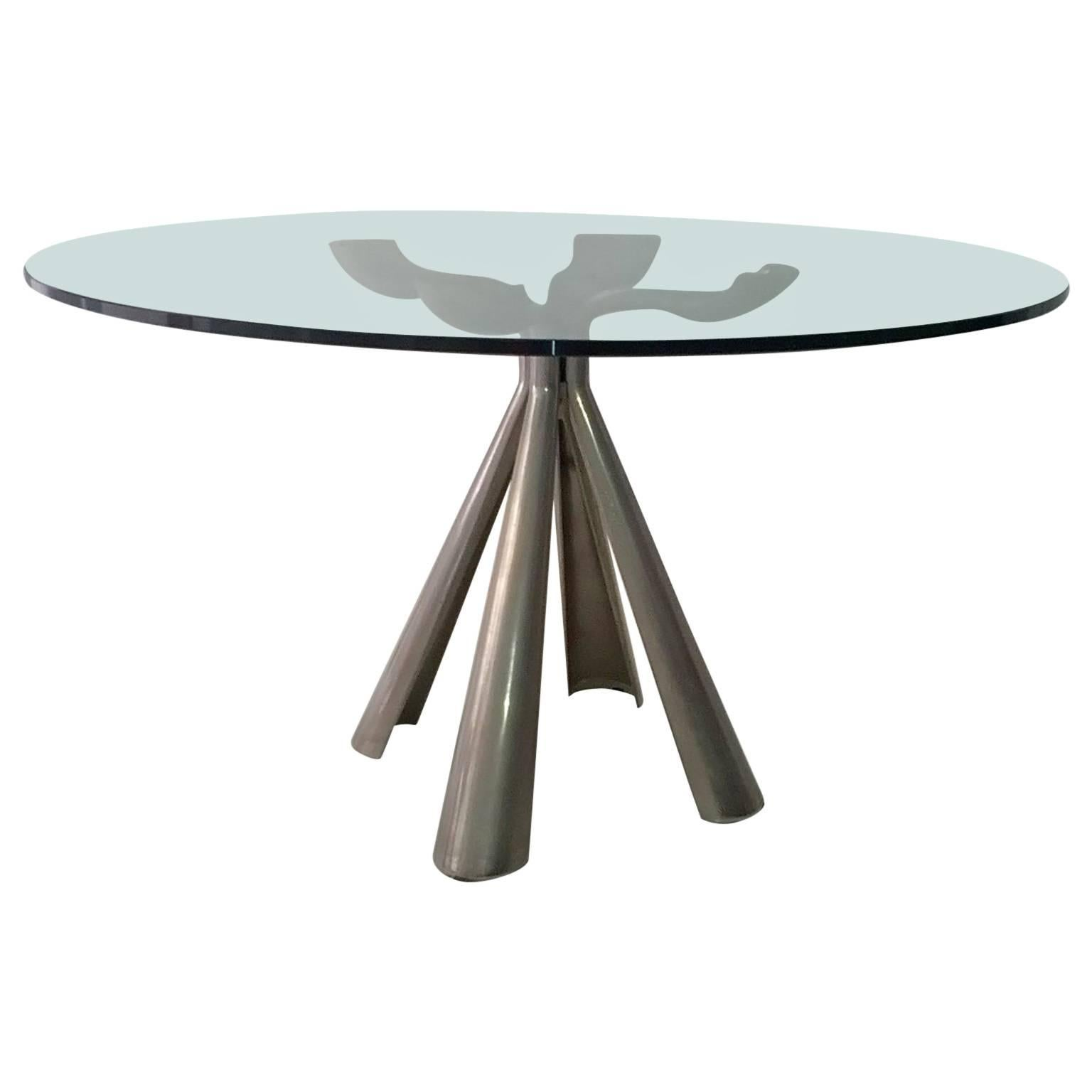 Italian Elegant Centre or Dining Table by Vittorio Introini for Saporiti, Signed