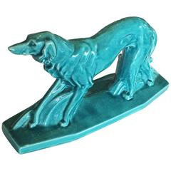 French Craquele Figure of a Borzoi the Art Deco Dog Signed by LeJan