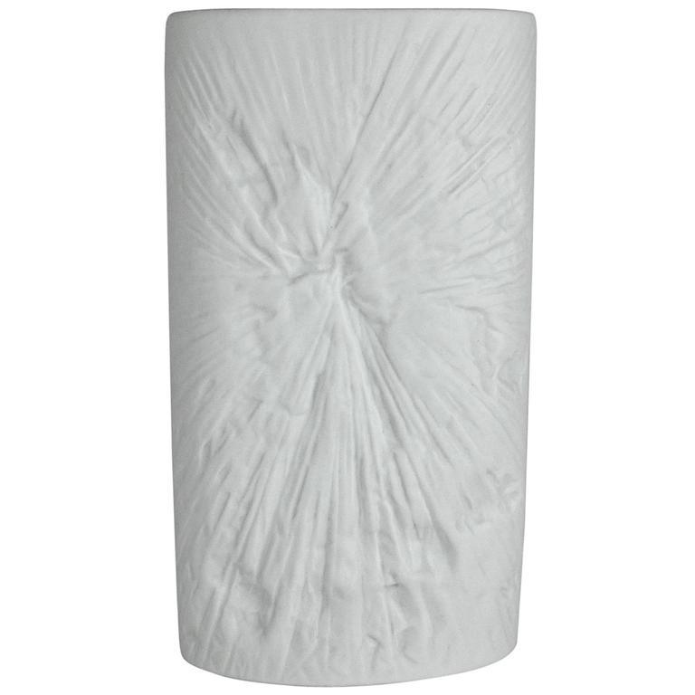 Midcentury Martin Freyer White Op Art Vase for Rosenthal Porcelain