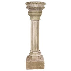 19th Century Marble Pedestal with Shallow Planter