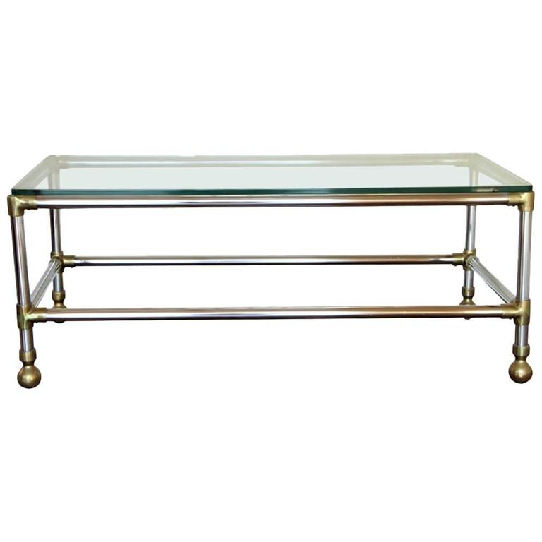 Chrome And Brass Industrial Style Cocktail Table For Sale