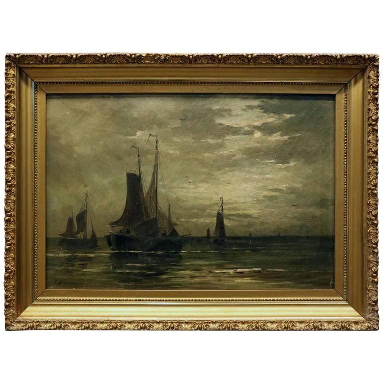 Antique Oil On Canvas Maritime Painting Jan Frederik Van