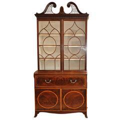 Period George III Mahogany Hepplewhite Secretary Bookcase