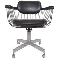 Mid-Century Modern Industrial Swivel Desk Armchair