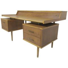 Mid-Century Modern Desk with Leather Top by John Van Koert for Drexel Profile