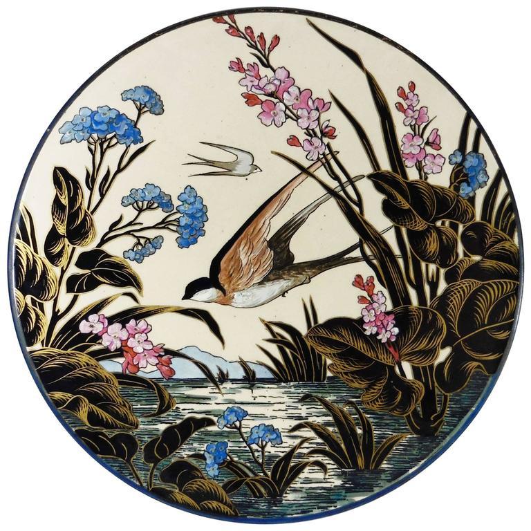 19th Century Majolica Swallow Wall Platter Sarreguemines