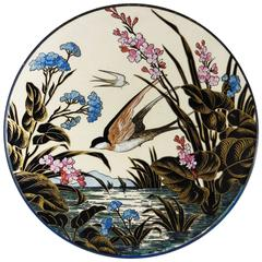 19th Century Majolica Swallow Wall Platter Sarreguemines