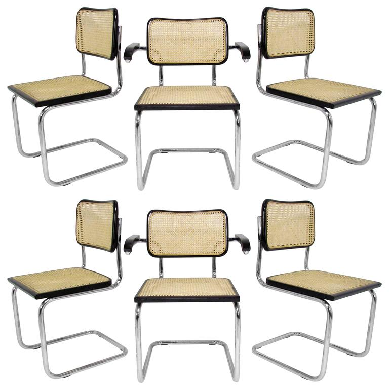 Set Of Six Marcel Breuer Cesca Chairs, Made In Italy For Sale