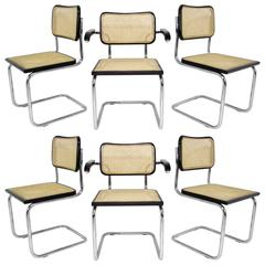 Set of Six Marcel Breuer Cesca Chairs, Made in Italy