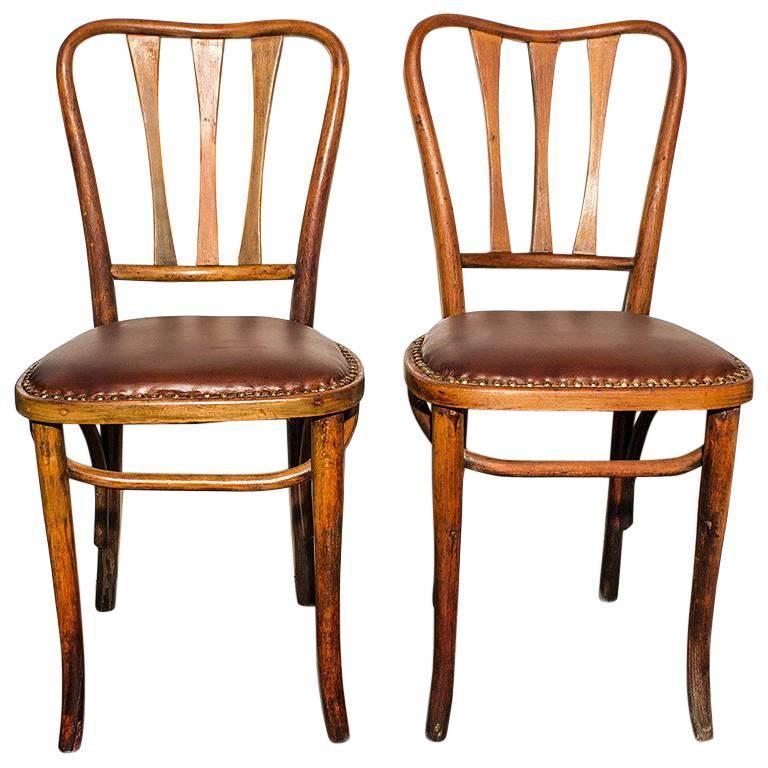 Pair Of Rare Thonet Bistro Chairs With Leather Seats