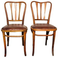 Pair of Rare Thonet Bistro Chairs with Leather Seats, circa 1900