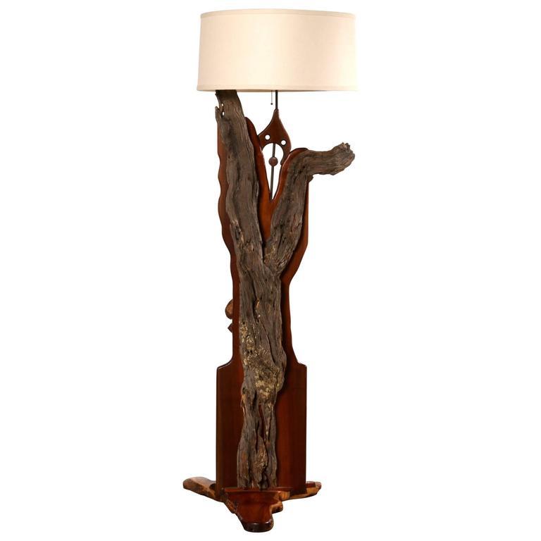 california design organic wood floor lamp circa 1970s 1