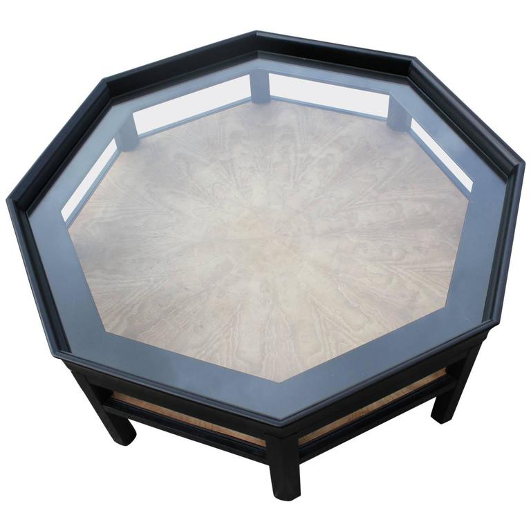 Octagon shaped two tone baker black coffee table for sale for Octagon coffee table