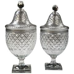 Pair of Voneche Cut Glass Bombonieres or Covered Urns
