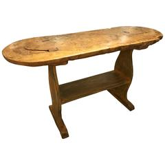 "Early 19th Century Rustic ""Basque"" Oval Trestle Table or Console"