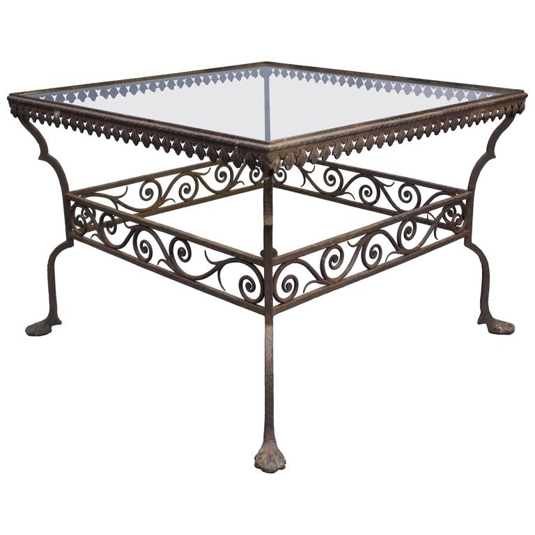 1920s Iron Coffee Table With Beautiful Scroll Details At 1stdibs
