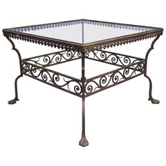 1920s Iron Coffee Table with Beautiful Scroll Details