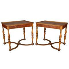 Antique Pair of Neoclassical Style Beacon Hill Satinwood and Burl End Tables