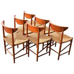 Set of Six Teak Hvidt & Molgaard Model 316 Dining Chairs with Rewoven Seats