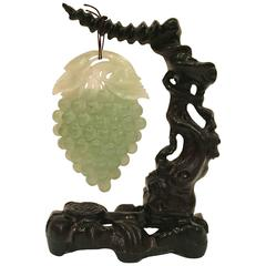 Large Green Jade Grape Sculpture on Carved Wood Stand