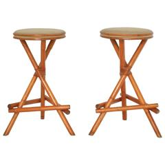Pair of Midcentury Bamboo Barstools