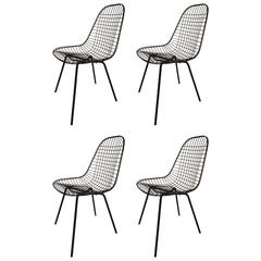 Set of Four Early Charles Eames Wire Chairs, 1950s