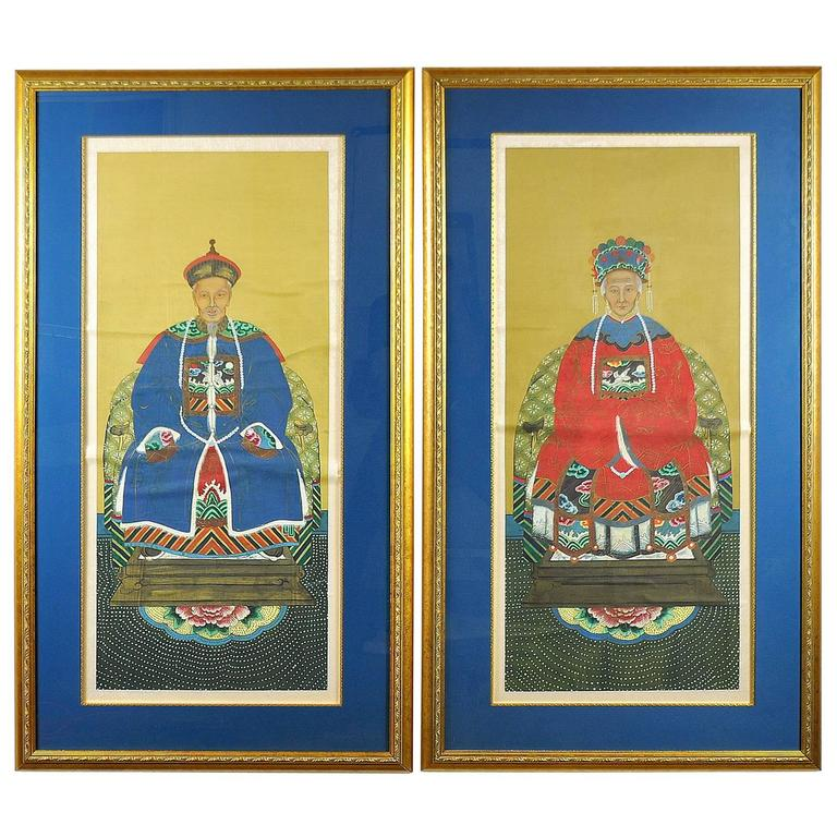 Antique Pair of Qing Dynasty Chinese Ancestor Portraits 1