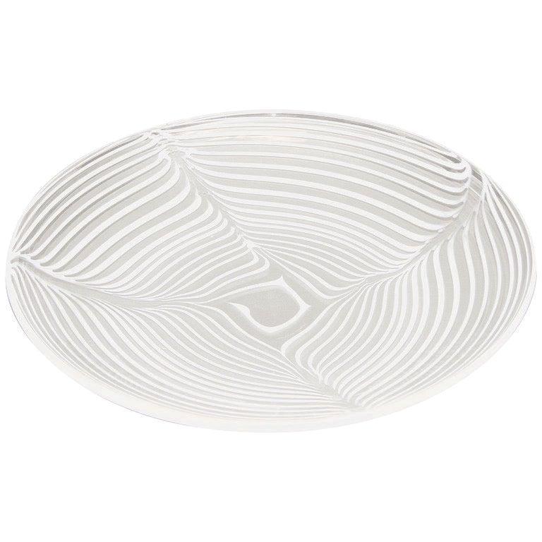 Formia 1970 Modern Italian Crystal Murano Glass Centerpiece with White Filigrana